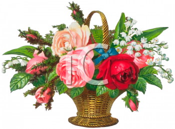 Victorian Basket of Flowers Clip Art