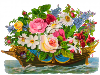 Victorian Floral Clip Art of a Boat Full of Flowers