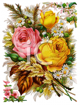 Flowers and Leaves Victorian Clip Art