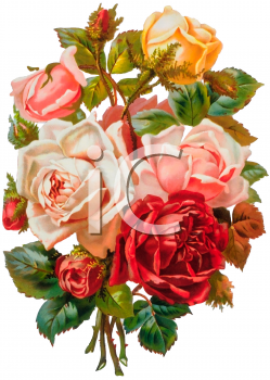 Yellow and Pink Roses Bouquet Victorian Floral Clip Art