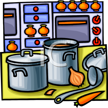 Kitchen on Royalty Free Clipart Image  Pots And Pans On A Kitchen Counter