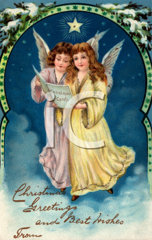 Victorian Christmas Card-Angels Singing