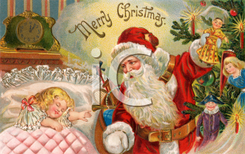 Santa Bringing Toys to a Sleeping Child