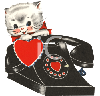 Vintage Valentine-Kitten by a Phone