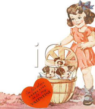 Vintage Valentine-Girl With Puppies