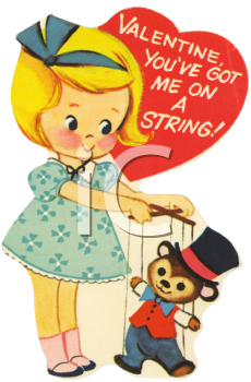 Vintage Valentine-Girl with a Puppet