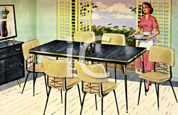 Dining Room on Modern 1950 S Dining Room Set   Royalty Free Clip Art Picture