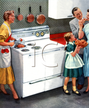 kitchen 1950 clip art