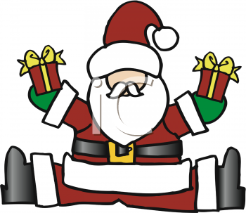 Cartoon of Santa Claus with Gifts Clipart