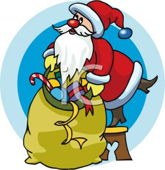 Santa Claus With a Huge Bag of Toys Clipart