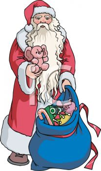 European Santa with a Bag of Toys Clipart