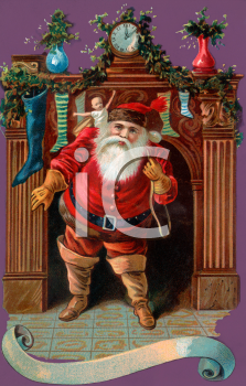 Old Fashioned Santa Coming Down the Chimney Clip Art - Royalty Free ...