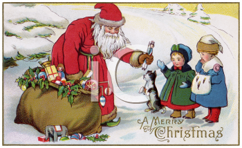 Old Fashioned Santa Giving Children Gifts Clip Art