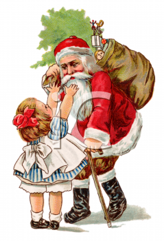 Little Girl Hugging an Old Fashioned Santa Clip Art