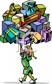 Strong Elf Holding a Lot of Presents