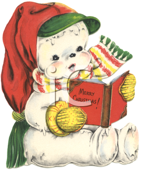 Vintage Snowman Reading A Book