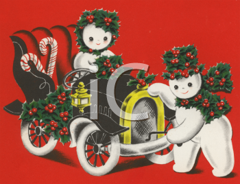 Vintage Snow People in a Jalopy
