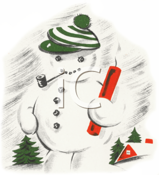 Old Fashioned Snowman Wearing a Cap