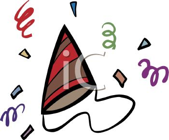 party hat and streamers royalty free clip art picture rh clipartguide com party streamers clipart birthday streamers clipart