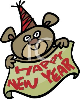 royalty free clipart image bear holding a happy new year banner
