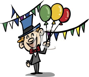 Man Holding Balloons at a Party - Royalty Free Clip Art Picture