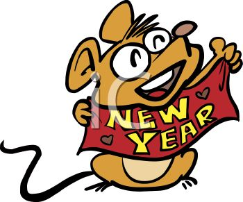 Mouse Holding a New Year Sign