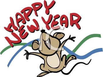 Royalty Free Clip Art Image: Happy New Year Mouse