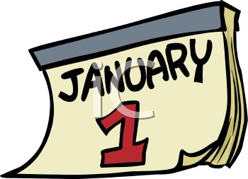 Date-January 1 Calendar Page - Royalty Free Clip Art Illustration