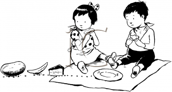 Black and White Clip Art of Two Children Watching Ants Steal Their Picnic Food