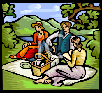 Friends on a Picnic by a Pond