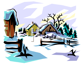 sun shining on a snow covered farm royalty free clip art image rh clipartguide com winter snow scene clipart free snow scene clipart