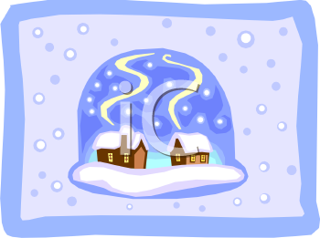 Two Little Cabins in a Snowglobe