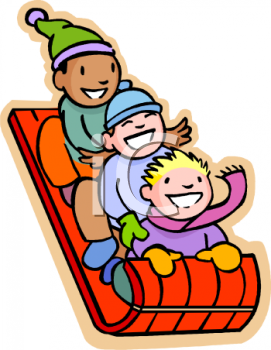 Children Riding on a Sled