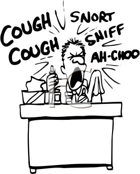 Black and White Clip Art of a Man at Work with a Cold