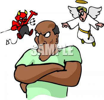 Devil and Angel on My Shoulder-Conscience - Royalty Free Clip Art ...