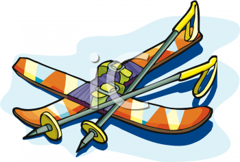 Royalty Free Clip Art Image: Snow Skis and Poles
