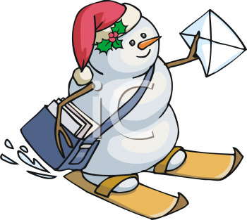Snowman Delivering Mail on Skis