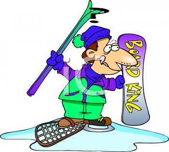 man wearing different kinds of winter sports gear royalty free rh clipartguide com winter sports cartoon clipart winter sports cartoon clipart