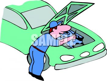 cartoon of a mechanic fixing a car engine royalty free clipart picture rh clipartguide com auto repair clipart free auto repair clipart black and white