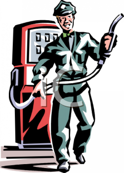 Retro Clip Art of a Man Working at a Service Station