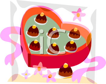 Valentines Chocolates in a Heart Shaped Box