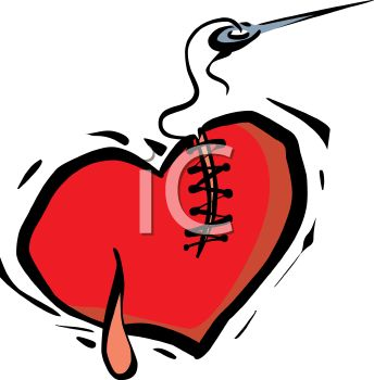 "This ""needle mending a broken heart"" clipart image can be licensed as part"