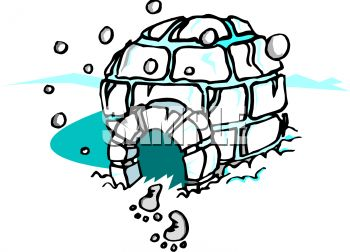 Igloo in the Snow - Royalty Free Clip Art Picture
