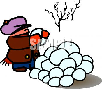 Cartoon of a Boy Collecting Snowballs for a Fight