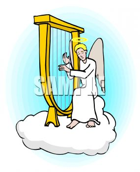 angel sitting on a cloud in heaven playing a harp royalty free rh clipartguide com clipart heaven free clipart heaven grocery store