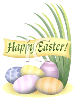Royalty Free Clip Art Image Pastel Easter Eggs And A Happy Banner