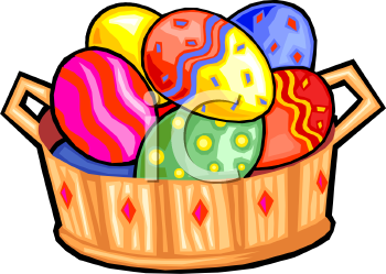 Brightly Colored Easter Eggs in a Wooden Basket