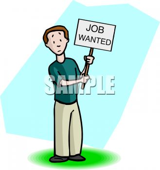 "Man Holding a ""Job Wanted"" Sign"
