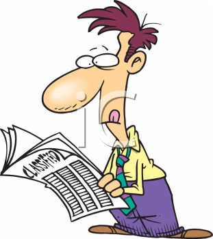 Royalty Free Clipart Image Cartoon Guy Looking Through The