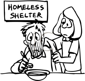 Black and White Clip Art of a Man Eating at a Homeless Shelter